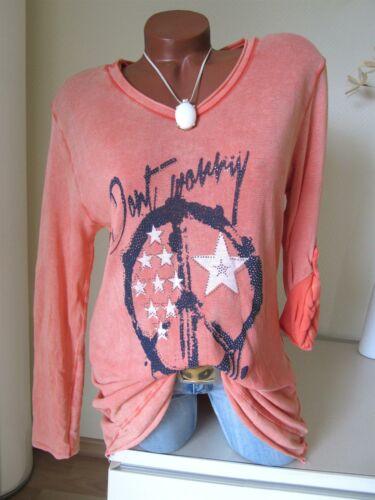 länger 38 40 42 Long Strick Shirt Tunika PEACE STERNE Strass h