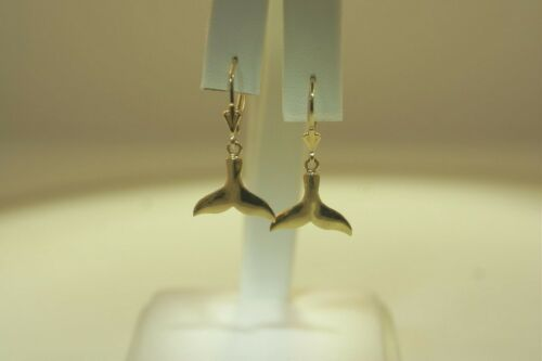 15.5MM SOLID 14K YELLOW GOLD SHINY HAWAIIAN WHALE TAIL DANGLY LEVERBACK EARRINGS