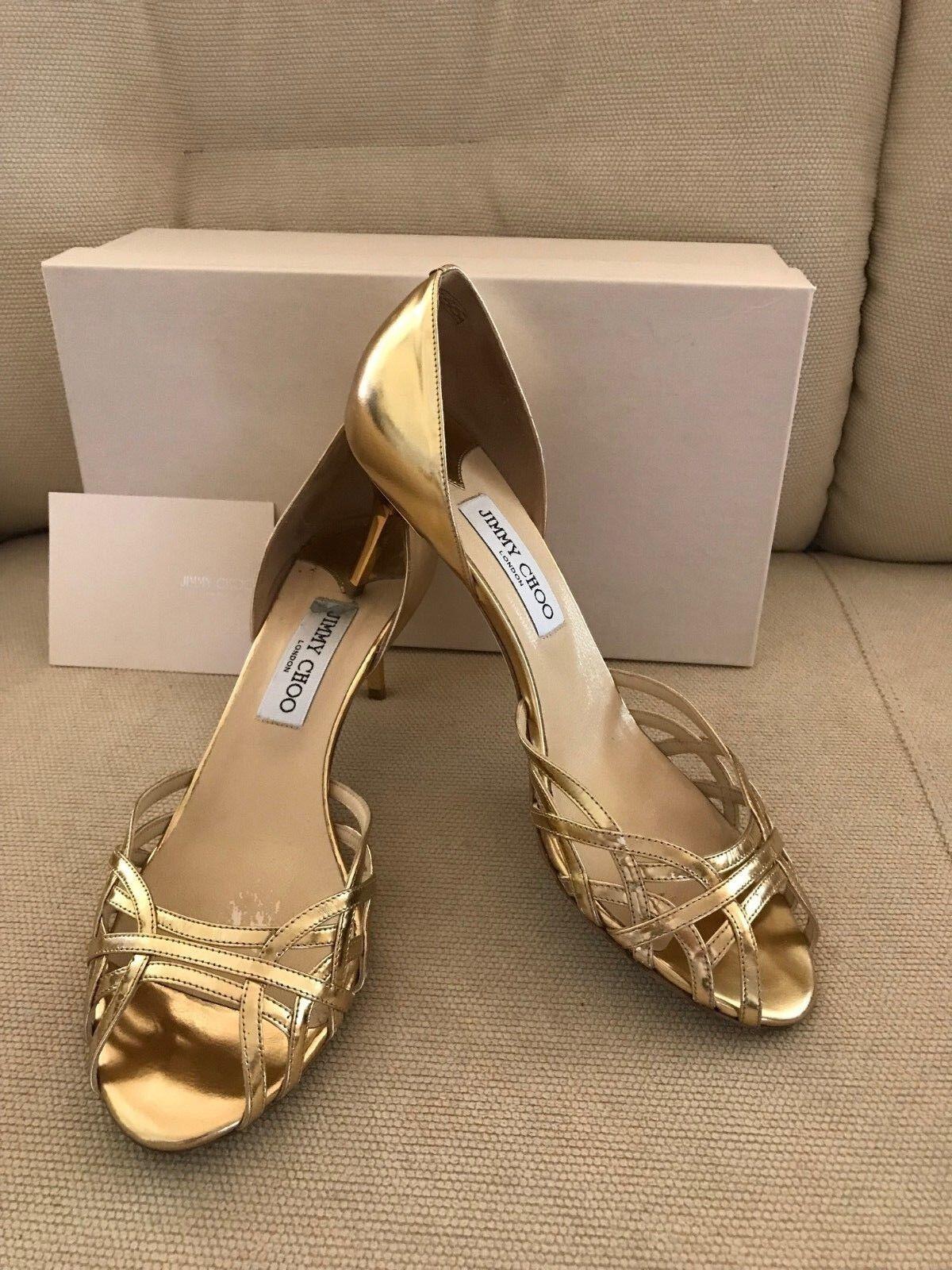 600 Jimmy zapatos Choo Metallic Leather oro-Tone zapatos Jimmy Heels Sandals Dandy Dorsay 39 9 69c1bf