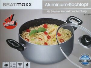 BRATmaxx-Kochtopf-Aluminium-24-cm-Glas-Deckel-Gas-Elektro-Induktionsherd-geeigne