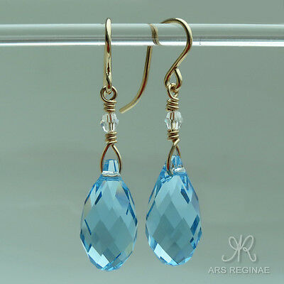 "● Quarz Kristall Pampel Ohrringe in ""Aquamarin"" / ""Topaz"" blau ygf 14k Gold 585"