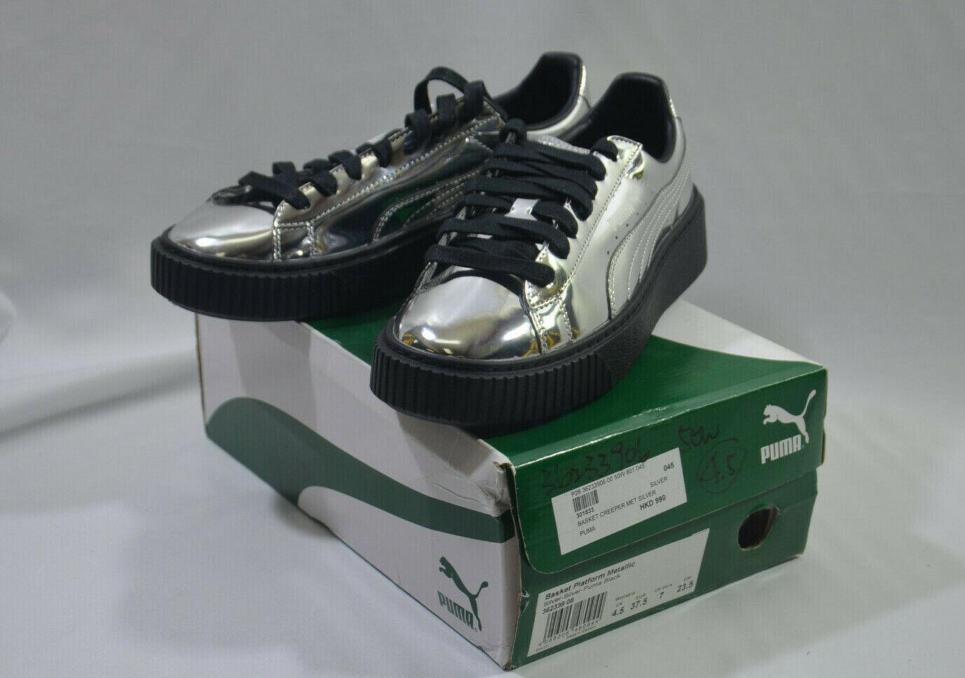 Puma Basket Platform Creeper Metallic Casual Sneakers Silver Womens Size