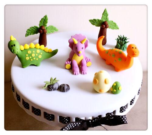 3DLarge Dinosaur Handmade Edible Cake Topper Birthday Baby shower Decoration set