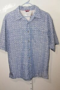 The-North-Face-Men-039-s-Blue-Gray-Checked-Plaid-Short-Sleeve-Hiking-Shirt-Medium