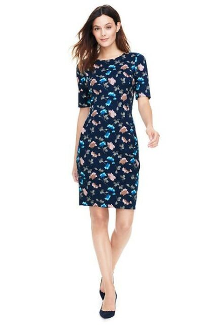 ae9a4df10e Lands End Women's Elbow Sleeve Ponte Sheath Dress Radiant Navy Multi Floral  New