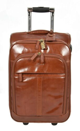 CUIR VÉRITABLE valise EXCLUSIVE DE VOYAGE BAGAGE CABINE VOL WEEKEND Bag Chestnut