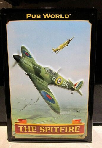 THE SPITFIRE PUB// RAF EMBOSSED 3D METAL  ADVERTISING SIGN 30x20cm PUB//BAR//CAVE