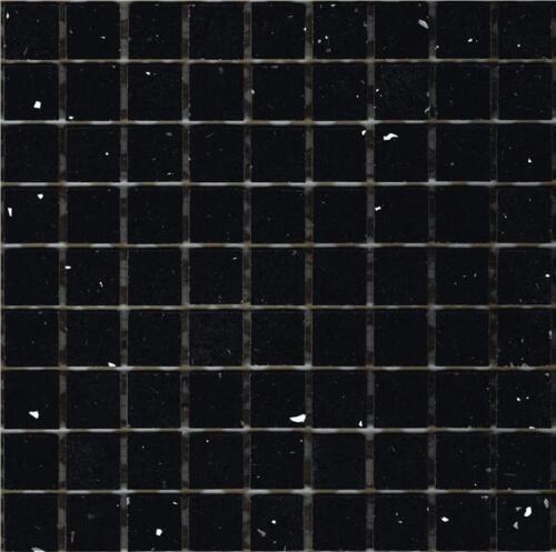 Échantillon de Black Starlight Stardust Quartz Mosaïques feuille carrelage Splashback