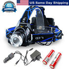 CREE XM-L T6 LED HEADLIGHT HEAD LIGHT LAMP ZOOMABLE 6000LM 2 X BATTERY + CHARGER