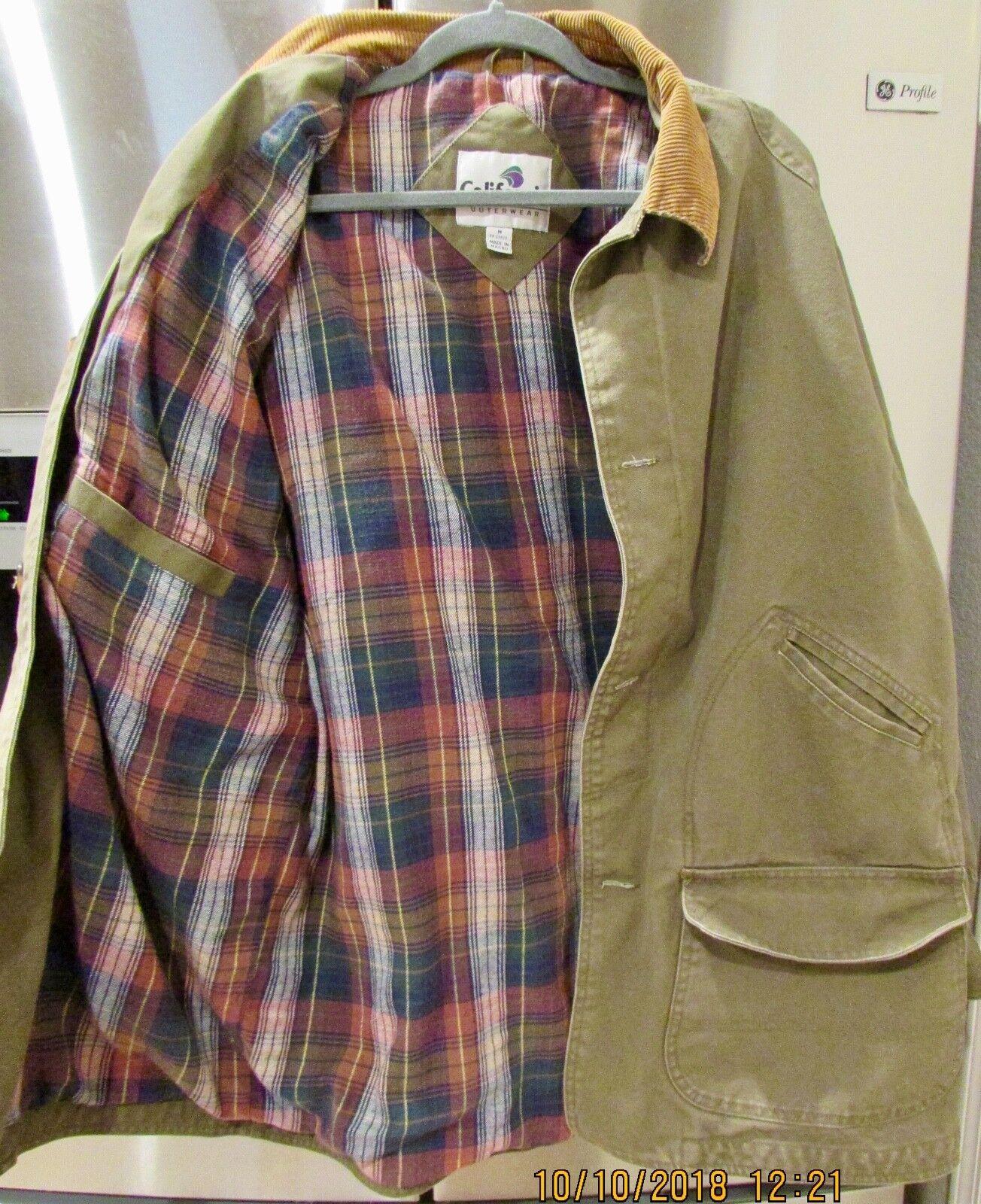 California Outerwear Men's Barn   Field Coat W  Corduroy Accents Khaki M