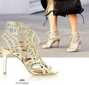 673cae2cde0 Joie Leather  LEAH  High Heel Sandals Gladiators  385 White Gold sz ...