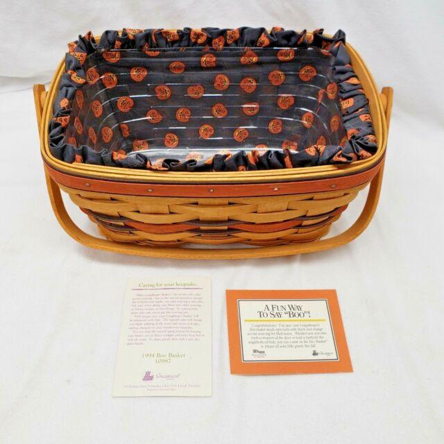 Vintage 1994 Longaberger Boo Basket 10987 w/Liner Protector & Certificate Signed