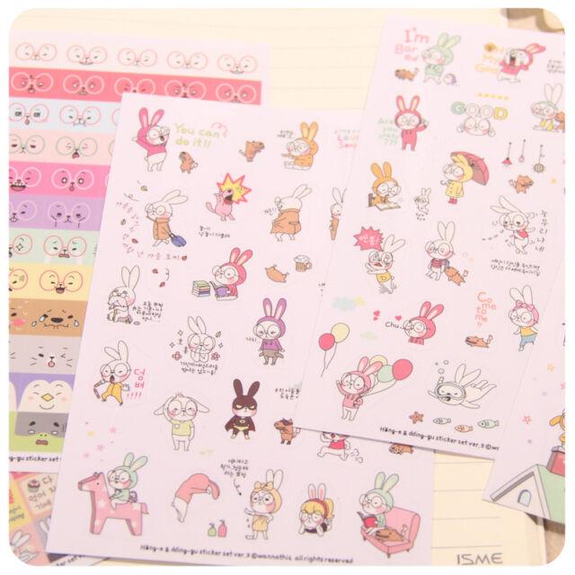 6 Sheets Rabbit Diary Book Sticker Scrapbook Calendar Notebook Label Cute Lovely