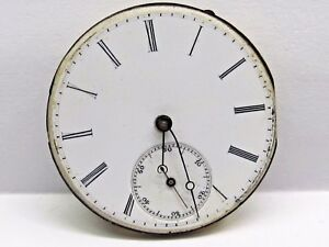 Antique-Jules-Mathey-Lacle-Pocket-Watch-Movement-36-mm-in-size-porcelain-dial
