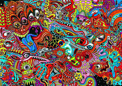 Psychedelic Trippy weird BIG Poster, Various sizes from A3