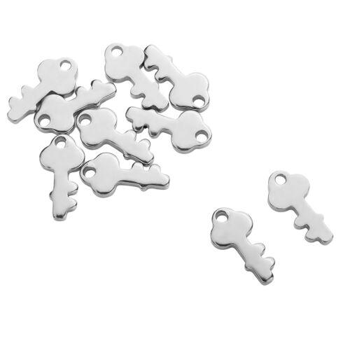 50 Pendentifs Breloques Acier inoxydable clé clef Pr Collier Bracelet 13x6.5mm