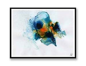 Orange Blue abstract  original ink abstract painting unique gift ID  1323 - Portsmouth, United Kingdom - Orange Blue abstract  original ink abstract painting unique gift ID  1323 - Portsmouth, United Kingdom
