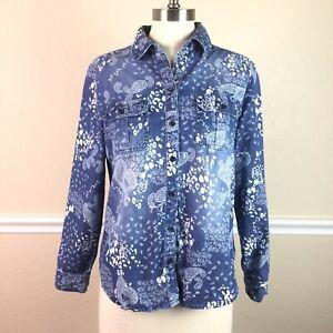 Chicos-1-Womens-Top-Cotton-Paisley-Denim-Long-Sleeve-Button-Front-Size-M