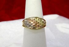 14K MULTI TONE GOLD BRAIDED TEXTURED RING BAND SIZE 5