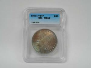 1878-7-8-TF-1-Morgan-Dollar-VAM-33a-7-8-Tail-Feathers-amp-Clash-IGC-MS-64-TONE