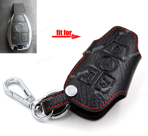 Leather Key Chain Bag Remote Key Case Cover Holder For Benz E C R CL GL SL CLK