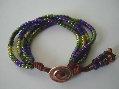 Purple & Green Glass Handmade Beaded 4 Strand Leather Wrap Bracelet