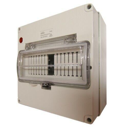 8 Pole WeatherProof Enclosure IP66 RCD Cover Circuit Breaker Solar AC DC