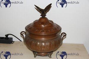 alte 5l bowle aus kupfer um 1900 mit glaseinsatz und adler aus bronze mit patina ebay. Black Bedroom Furniture Sets. Home Design Ideas
