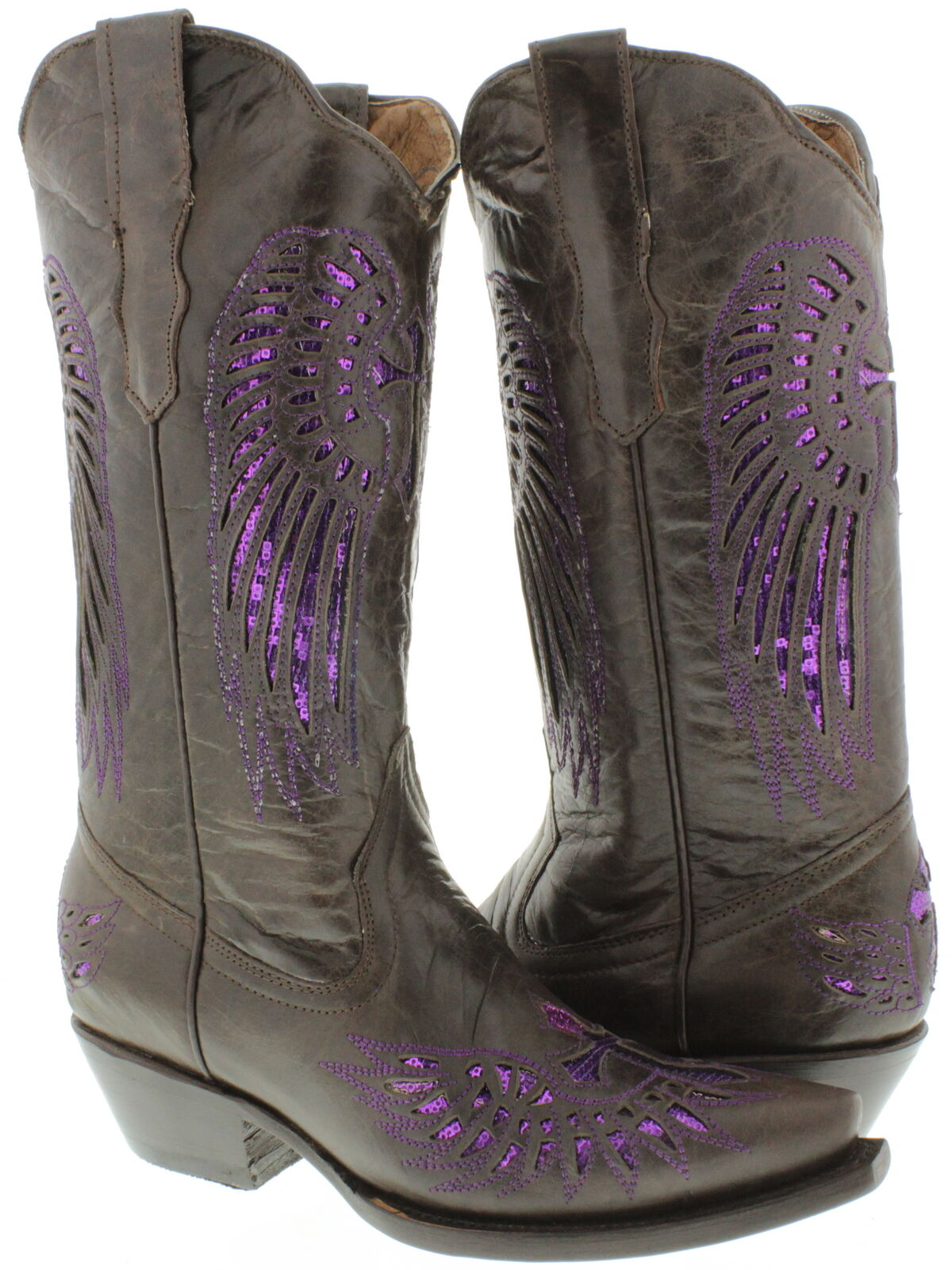 Women's Brown Cross Wings Inlay Purple Sequins Leather Cowboy Cowboy Cowboy Boots Snip Toe 296592