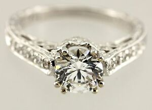 1c35f05ae6b08 Details about 18k white gold Kirk Kara engagement ring 1ct round CZ center  .37ctw accents NEW