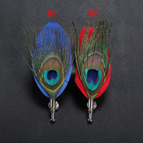 Men/'s Feather Broche épingle Cravate Lapel Stick Pour Bal Mariage Fête Costume Boutonnière