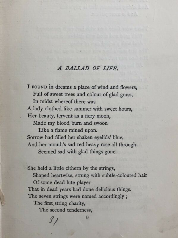 Antique 1882 Book - Poems and Ballads