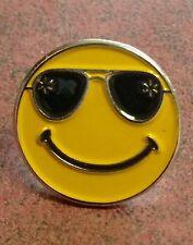 """Rare Walmart Lapel Pin """"shades""""  Smiley Happy To Help Promo Wal-mart Pinback"""