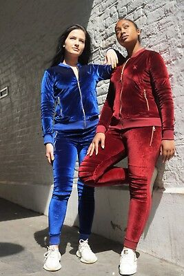 2pcs Womens Velour Tracksuit Sweatshirt Pants Sets Sport Casual Wear Zip Suit