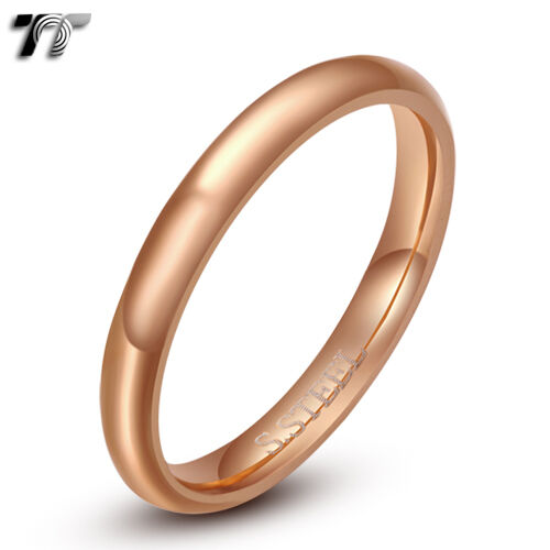 TT 3mm Plain Stainless Steel Wedding Band Ring Choose Size Colour (R118)