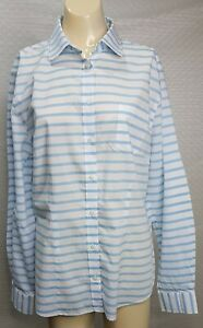 RM-WILLIAMS-Womens-Sz-14-Long-Sleeve-Semi-Fitted-Cotton-White-Blue-Striped-NWOT