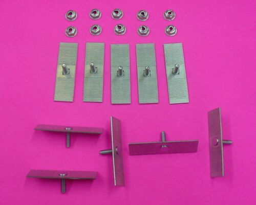 10 Ford Body Side Moulding Fasteners 2-1//2 x 3//4 Perforated Clips Bolts NOS 378