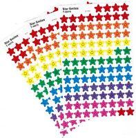 3 Sheets Mini Rainbow Star Smiles Scrapbook Stickers 300 Stickers