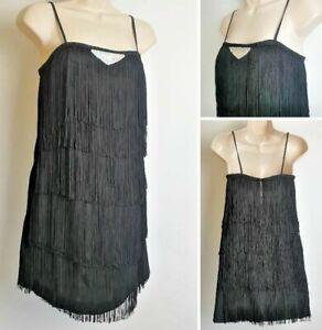 Vintage Next Schwarz Flapper Zwanziger Jahre Gatsby Fransen Riemchen Junggesellinnenabschied Kleid d3 Größe 10