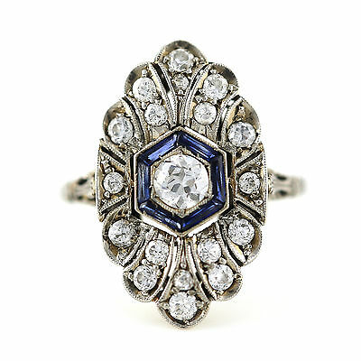 Antique Art Deco Old European diamond Platinum blue sapphire ring size 6.5