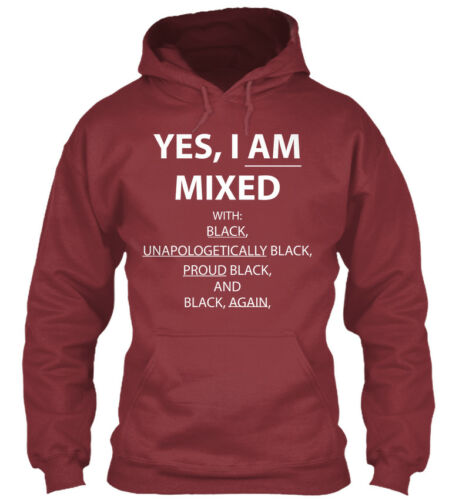 I Am Mixed With Black With: Black Yes Gildan Hoodie Sweatshirt