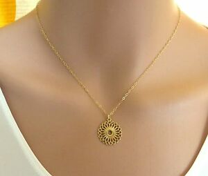 Gold lotus necklace mandala necklace flower of life necklace ebay la foto se est cargando oro lotus collar mandala collar flor de la aloadofball Gallery
