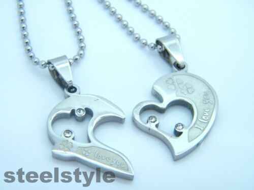 WOMENS MENS STAINLESS STEEL 316L COUPLE  PENDANT NECKLACE SILVER HEARTS