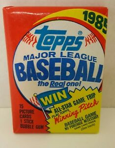 VINTAGE-1985-TOPPS-BASEBALL-1-WAX-PACK-RC-CLEMENS-McGUIRE-PUCKETT-HERSHISER