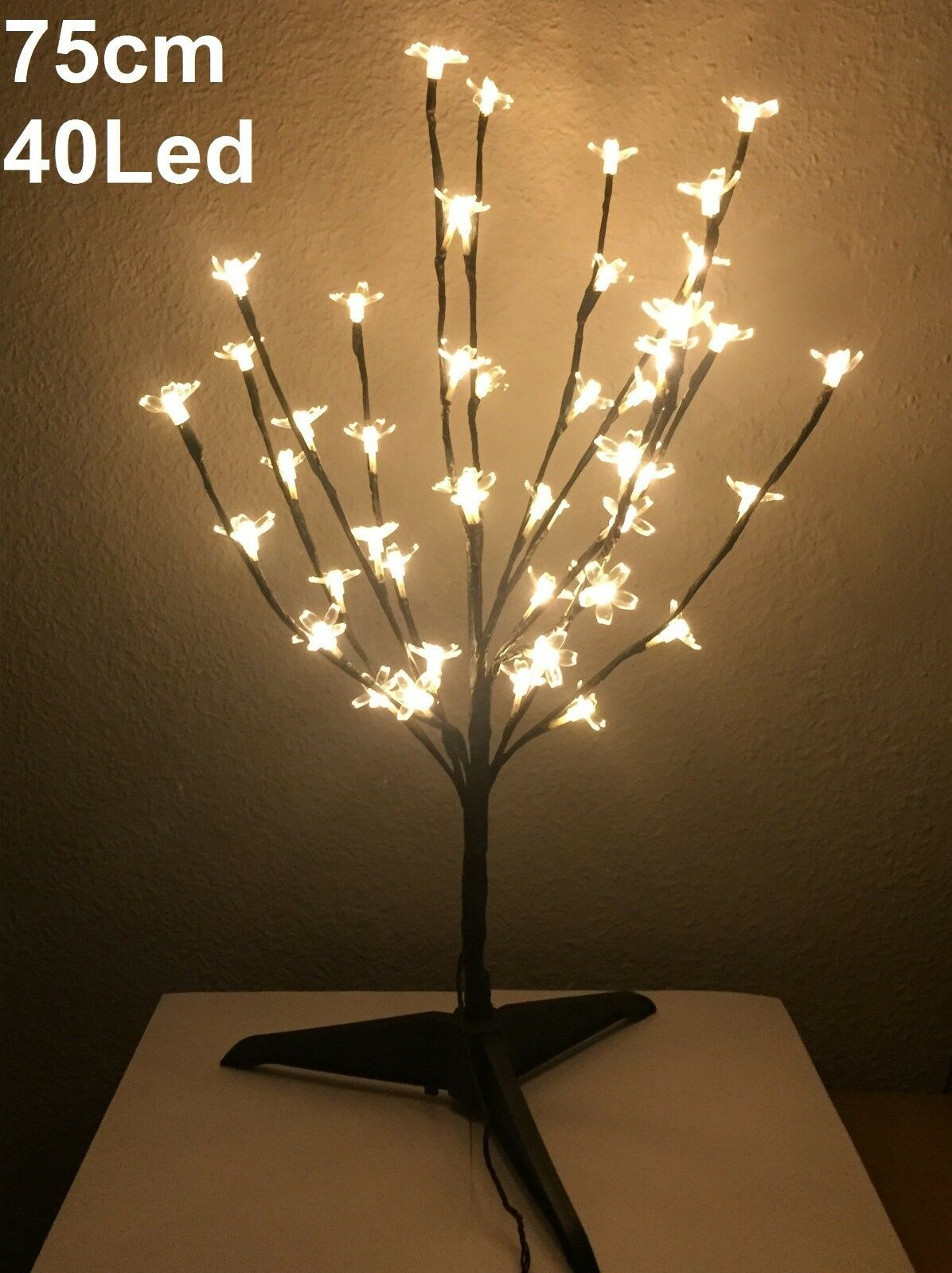 Arbol de navidad con luces led 75cm 40 leds cerezo decorativo árbol...