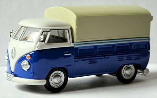 VW Volkswagen T1 Pritschenwagen Pick-Up Pritsche Plane 1951-67 blau /& weiß 1:43