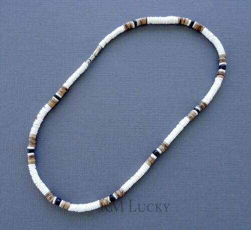 "Puka Smooth Shell Mixed Colors Necklace Choker Surfer Hawaiian Screw Clasp 18/"""
