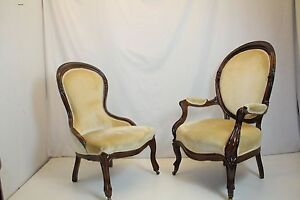 Image is loading Antique-Pair-of-Victorian-Rosewood-Ladies-&-Gentleman- & Antique Pair of Victorian Rosewood Ladies u0026 Gentleman Chairs Circa ...
