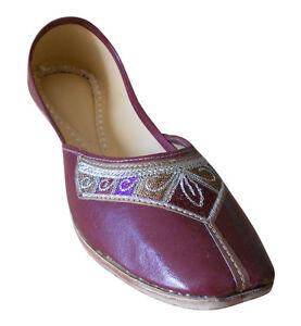 Women-Shoes-Traditional-Handmade-Brown-Ballet-Flats-Jutties-UK-3-5-7-EU-36-41