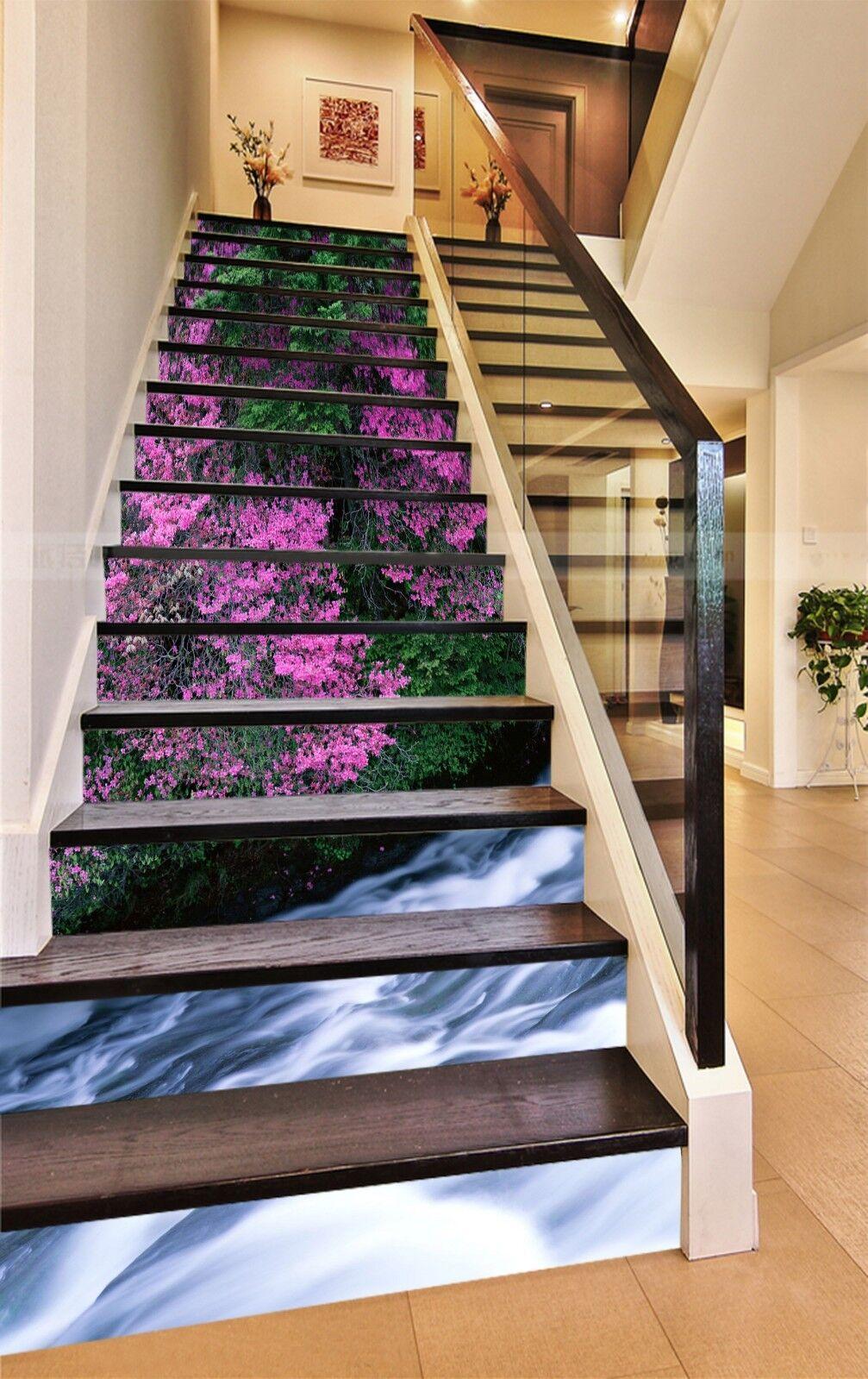 3D Flower creek 5 Stair Risers Decoration Photo Mural Vinyl Decal Wallpaper UK